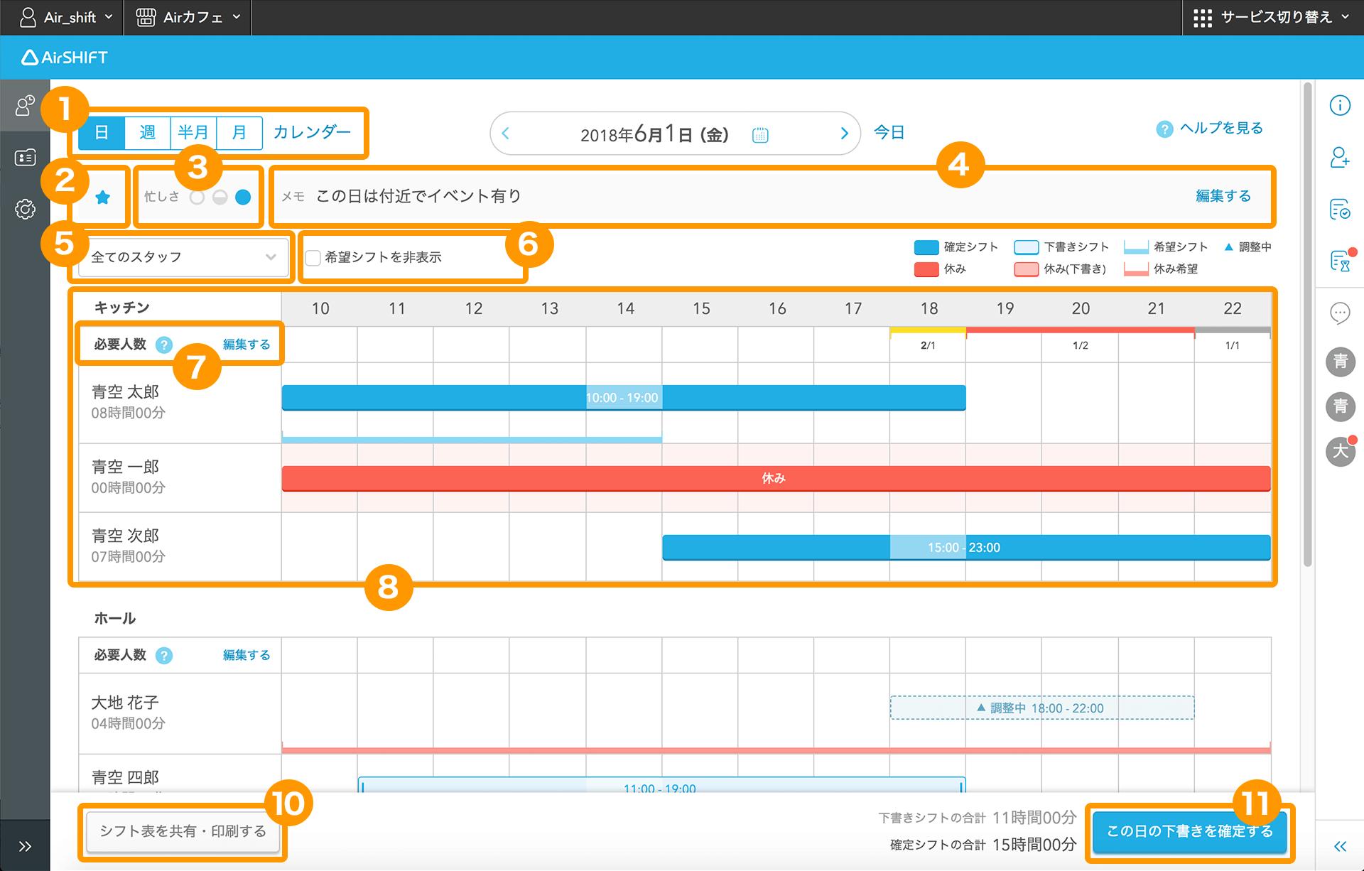 Airシフト シフト管理画面 日別シフト表